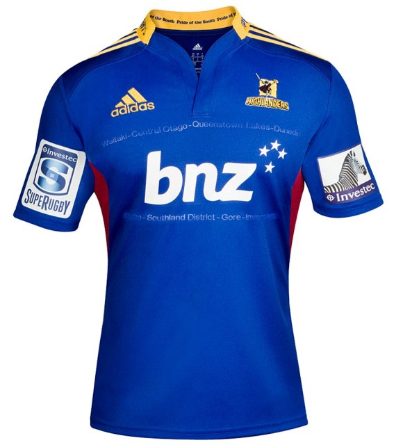 f6bf9380488 New Highlanders Super 15 Shirts 2013- Adidas Otago Highlanders Home ...
