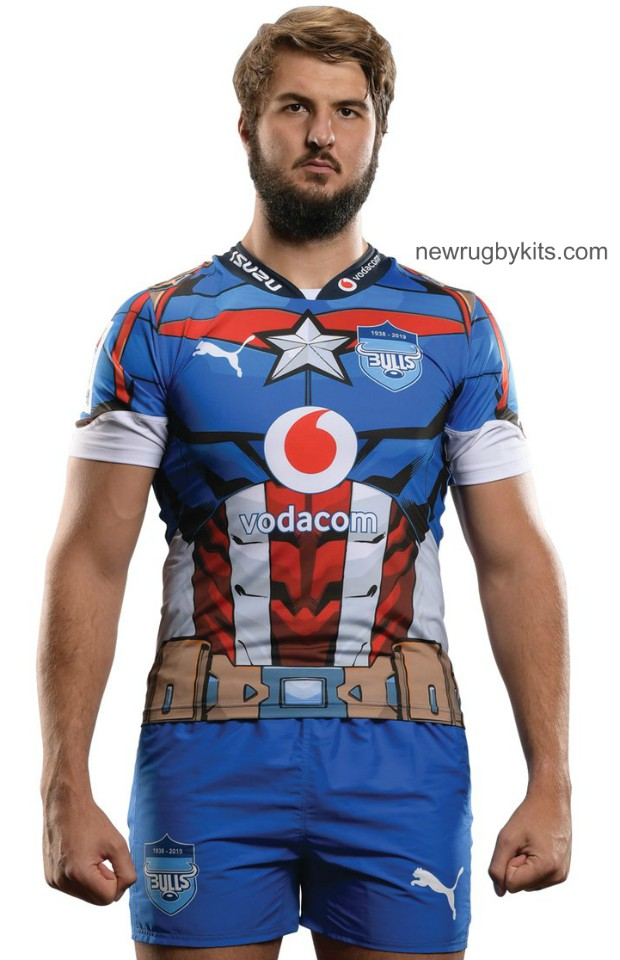 93750fe81f8 New Blue Bulls Captain America Jersey 2019- Bulls Marvel Super Hero ...